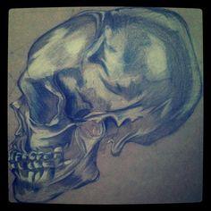 Mais duas aulas e termino! Todos os dias poderiam ser quinta feira! #skull #draw #paint #fabercastell #sketchbook  - @vito_tec- #webstagram