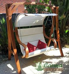 Outdoor Wooden Hanging Chair, Swinging Chair, Timber Bench & Waterproof Canopy