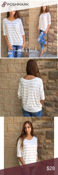 Striped Dolman Top Cream colored striped top featuring dolman sleeves and slight V-neck. Made of a rayon & spandex. Size S,M,L.                                                              Measurements  S Bust 46 Length 26  M Bust 50 Length 27  L Bust 54  Length 28 Tops