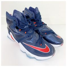 be43e3bab523 Nike Lebron XIII 2015 Midnight Navy University Red 807219 461 Athletic sz  11.5  fashion