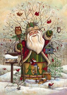 Christmas art, snowman art by renowned painter Janet Stever.