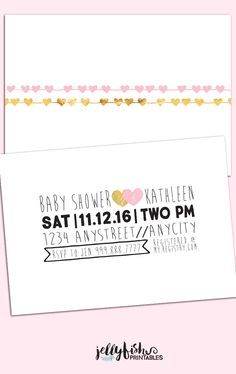 Simple Baby Shower Invitation. Front & Back. DIY Printable Digital File or Printed. Whimsical Pink Gold Black Modern Heart by JellyfishPrintables on Etsy