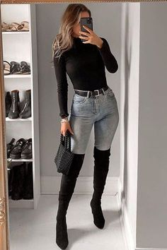How To Wear Over The Knee Boots With Jeans - Nathan Davenport Fashion Winter Boots Outfits, Winter Fashion Outfits, Fall Outfits, Women's Fashion, Female Fashion, Black Knee High Boots Outfit, Over The Knee Boot Outfit, Looks Black, Outfit Jeans