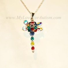 Swarovski Crystal Autism Awareness Dragonfly Pendant Available @ www.MyLoveForAutism.com
