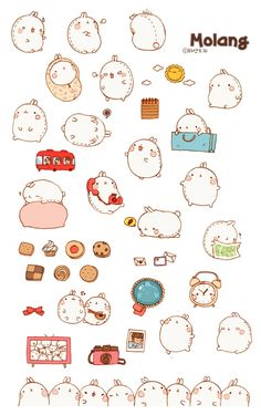 Molrang this sticker ^ ^ Chibi Kawaii, Manga Kawaii, Kawaii Doodles, Cute Doodles, Stickers Kawaii, Cute Stickers, Korean Stickers, Cute Kawaii Drawings, Molang
