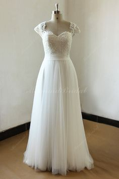 Flowy marfil abrir una línea de vestido de Novia por MermaidBridal