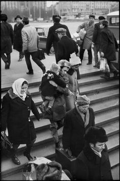Henri Cartier-Bresson // SOVIET UNION. Russia. 1972 -Moscow. Three Station Square. Subway entrance.