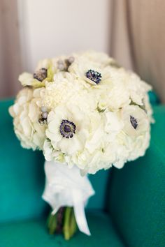 White Poppy and Hydrangea Bridal Bouquet by http://www.sadiesfloral.com/ | photography by http://twobirdstudio.com