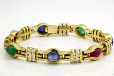 Antique C. 1920 Deco 18k 22k Gold Sapphire Emerald Ruby Diamond Tennis Bracelet! in Jewelry & Watches, Vintage & Antique Jewelry, Fine, Art Nouveau/Art Deco 1895-1935, Bracelets | eBay