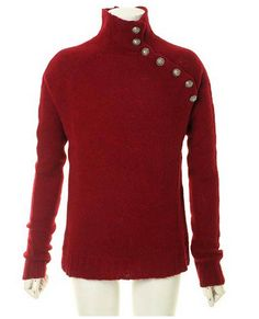 NWT BALMAIN RED SWEATER    Red wool sweater with a roll-neck, extra-long sleeves, silver-tone buttoned shoulder detail and a ribbed-knit hem and cuffs.     With earthy hues set to be the look of the season, this military button sweater from directional Paris label Balmain is a perceptive wardrobe...