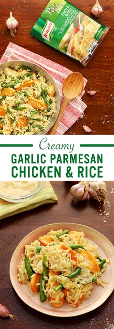 Discover the delicious flavors of Italy (& give boring dinners the boot!) with Knorr's Creamy Garlic Parmesan Chicken & Rice. Follow this easy recipe for a homemade family meal tonight: 1. Cook chicken 2. Add  Knorr® Rice Sides™ - Herb & Butter 3. Stir in green beans, lemon juice, & parmesan cheese. Sprinkle w/ parmesan cheese. Enjoy!