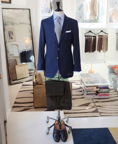 P Johnson Tailors:      PJ Sydney      Jacket : Milano blazer cloth in mid blue, totally unstructured (like a shirt)      Trouser : Cotton/ cashmere cord from Loro Piana      Shirt : PJ 'off the peg' 120's poplin stripe. Prince of wales collar      Tie : AD56 for PJ cashmere