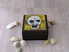 Sugar Skull Box  Day of the dead Skull Box  Dia de by WalterSilva, $20.95