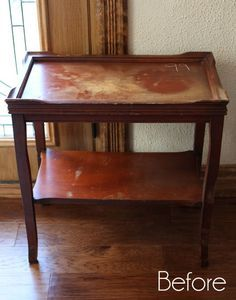 Thrift Store Table Makeover (Confessions of a Serial Do-it-Yourselfer) Furniture Fix, Refurbished Furniture, Repurposed Furniture, Furniture Projects, Furniture Making, Furniture Makeover, Furniture Refinishing, Outdoor Furniture, Thrift Store Furniture