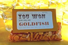 "Win your own ""goldfish"" game for circus party"