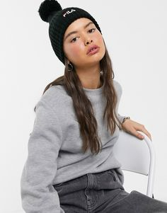 Buy Fila Rupert logo pom pom beanie hat in black at ASOS. Get the latest trends with ASOS now. Pom Pom Beanie Hat, Beanie Hats, Pom Pom Tops, Head To Toe, Head Wraps, Branding Design, Latest Trends, Asos, Winter Hats
