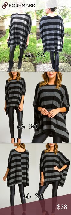 Striped Tunics Tunic has a boxy loose fit/style and looks super chic with the faux leather leggings (also available) - runs big by design. This tunic is so comfortable and a great staple for the cooler weather.   ✔️Made in the USA ✔️55% polyester 41% rayon 4% spandex ✔️Definitely size down if you prefer a less loose fit ✔️Length 27 Daughter is Modeling her small Boutique Tops Tunics