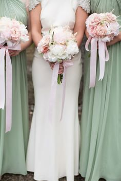 Pink and white bouquets with pink ribbon: http://www.stylemepretty.com/canada-weddings/2014/10/21/romantic-canada-wedding-at-ancaster-mill/   Photography: Karyn Louise - http://karynlouisephotography.com/