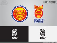 """Nukit Burgers ® ! The """"one stop, beef-in-a-basket, feast-on-a-bun"""" joint with the best onion rings in Seattle. • Nukit took a serious sales hit in Illinois after the Chicago bug bomb detonated in '55. A whole slew of franchises shut down due to..."""