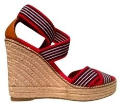 $72.90 on Tradesy Tory Burch Canvas Wedge Red, white and blue with jute Wedges
