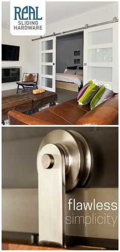 Real Sliding Hardware's flawlessly simple Stainless Aero Sliding Door Hardware is perfect for any home that appreciates minimalism or modern touches. This piece of American made craftsmanship might just be the perfect industrial flair for your space.