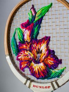Embroidery Designs Tennis Rack Art - This upcycled tennis racket art by Danielle Clough is just brilliant. Danielle uses the tennis rackets as a canvas for her embroidered art. French Knot Embroidery, Crewel Embroidery, Embroidery Patterns, Bordado Popular, Tennis Racket, Upcycle, Cross Stitch, Arts And Crafts, Weaving