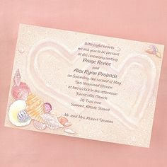 Hearts in the Sand - Invitation - Bright White 40% Off http://mediaplus.carlsoncraft.com/Wedding/Engagement/EA-EA65B8N-Hearts-in-the-Sand--Invitation--Bright-White.pro Show your love for each other in the sand with this beach inspired wedding invitation card.