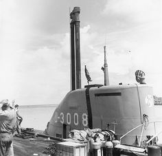 "The Type XXI Elektroboot submarine combined much enlarged battery capacity, a streamlined hull and a snorkel, permitting it to recharge its batteries while submerged. ASW experts call the end of the war in Europe ""saved by the bell"": If the Type XXI had entered service in large numbers, it would have been extremely hard to defeat. This Type XXI was captured intact and evaluated by the U.S. Navy. Credit: U.S. Navy"