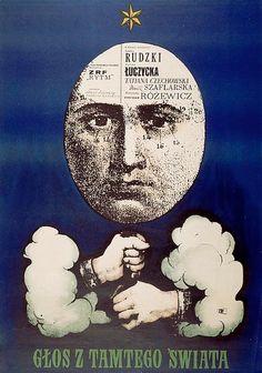 """Polish Poster by R. Cieslewicz, 1962, """"Glos Los Z Tamtego Swiata"""" directed by S. Rozewicz."""