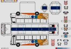 Easy-To-Build Japanese Buses Paper Models For Kids - by Akita City - == -  These two easy-to-build Japanese Buses with their cute passengers are perfect for little kids,