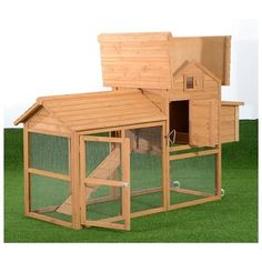 Pawhut Deluxe Portable Backyard Chicken Coop w/ Fenced Run and Wheels 1