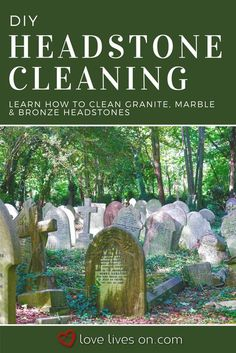 Use our Ultimate Guide on How to Clean a Headstone. Covers maintaining and restoring granite headstones, marble tombstones, and bronze grave markers. House Cleaning Tips, Diy Cleaning Products, Cleaning Solutions, Cleaning Hacks, Deep Cleaning, Cleaning Marble, Cleaning Painted Walls, Cleaning Stone, How To Clean Granite