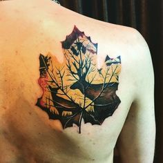 Lovely back shoulder tattoo for Autumn.