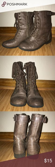 Rampage Brown Combat Boots I'm selling these Rampage light brown combat boots. They are size 6 women's. They are lightly worn with a few signs of wear, but overall they are still in nice condition! Price is negotiable! Rampage Shoes Combat & Moto Boots