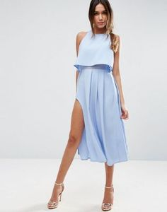 ASOS Crop Top Wrap Split Midi Dress