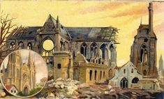 Effets de la guerre sur la cathédrale à Soissons Rue, Taj Mahal, France, Building, Painting, Travel, Taurus, Antique Post Cards, History