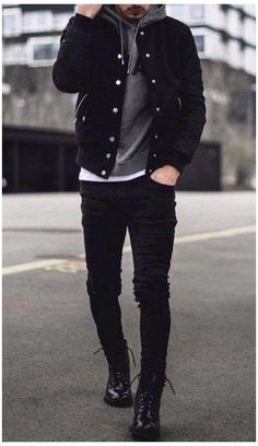 Black Denim Jacket Outfit, Black Outfit Men, Black Jeans Men, Ripped Jeans, Cool Outfits For Men, Stylish Mens Outfits, Hipster Outfits Men, Look Man, Mode Style