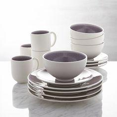 Jars Tourron Purple 16-Piece Dinnerware Set   Crate and Barrel