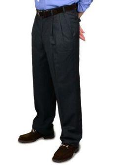 BERLE Charcoal Tropical Wool Trouser