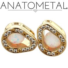 """1/2"""" Super Teardrop Eyelets in solid 18k yellow gold with CZ, Amber Yellow CZ, and synthetic Opal #17 gems"""