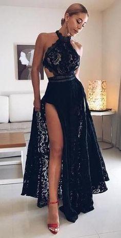 Robes de soirée sexy en dentelle noire à fente haute en dentelle Halter,  SG147  Promdress  Promes  Long Promdress  Longues robes