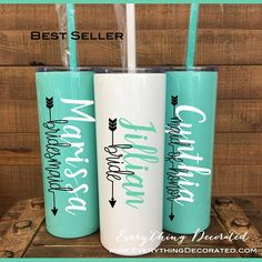 Personalized Tumbler with Straw Bridesmaid Tumbler