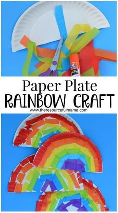 Tissue paper and paper plate rainbow kid craft for St. Patrick's Day or spring and summer. #kidscrafts