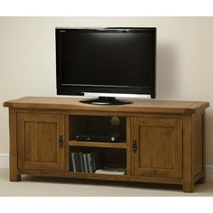 Oak TV and DVD cabinet