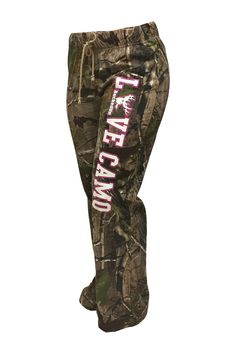 """BuckedUp Raw Edge CAMO lounge pants. Another item from our """"LOVE CAMO"""" collection. APG Realtree Camo with LOVE CAMO down the left leg. Drawstring waist with no pockets."""
