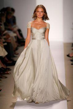 Reem Acra Sparkle Cap Sleeve Wedding Dress
