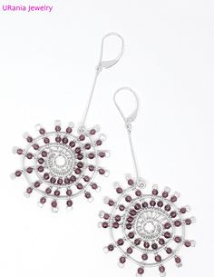 Daily Use Earrings Silver Boho Handmade Dangle 1000 Pure 925 Sterling Beads Rhodolite Garnet Loom Woven Symbols Greek Ancient Handcrafted UR Handmade Jewelry Designs, Fabric Jewelry, Unique Rings, Loom, Garnet, Silver Earrings, Dangles, Symbols, Pure Products