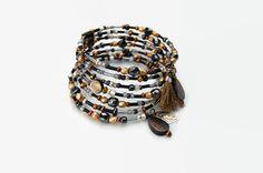 RESERVE-Bracelet manchette noir gris doré bronze 7 tours fil mémoire nacre Miyuki verre de Bohême- Collection Grand : Bracelet par perles-et-petales