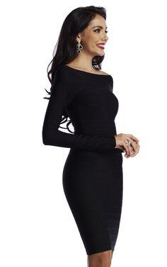 2d4a43e858 Black Long Sleeve Off Shoulder Bandage Dress. Thekewlshop.com Long Sleeve Bandage  Dress
