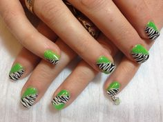 Neon green and zebra stripe shellac design for a client. Come look at Beaushique Salon on Facebook for more pics!